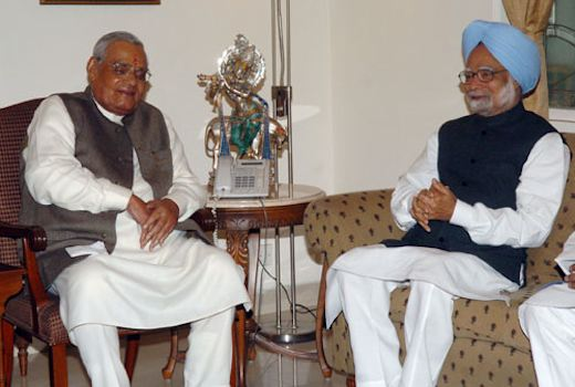 The Prime Minister, Dr. Manmohan Singh greeted the former Prime Minister, Shri Atal Bihari Vajpayee on his 84th birthday, in New Delhi on December 25, 2008.
